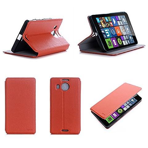 Etui luxe Microsoft Lumia 950 XL 4G/LTE (ex Nokia) Dual Sim orange Ultra Slim Cuir Style avec stand - Housse Folio Flip Cover coque de protection Microsoft 950 XL orange 5.7 pouces - Accessoire XEPTIO case