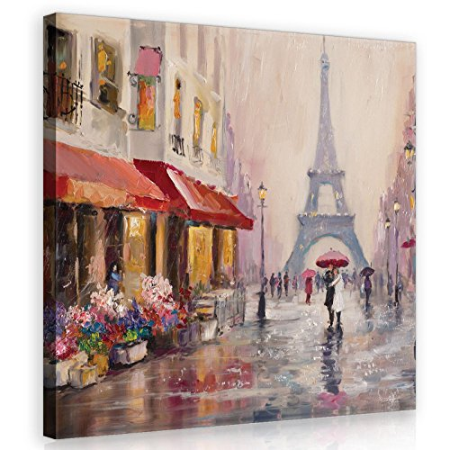Welt-der-TräumeWANDBILD CANVASBILD Wandbild Leinwandbild Kunstdruck Canvas | Paris | O5 (40cm. x 40cm.) | Canvas Picture Print PP11512O5-MS | Stadt Paris Gemälde Frankreich Kunst Eiffelturm