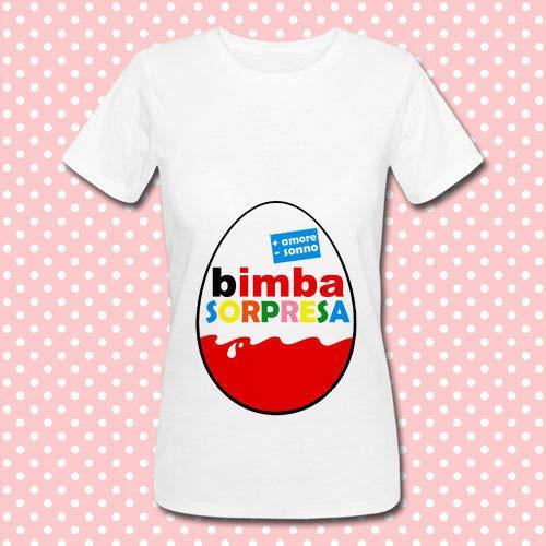 T-shirt donna Bimba Sorpresa, uovo con sorpresa per annunciare una gravidanza, idea regalo simpatica per una mamma in attesa di una femminuccia!