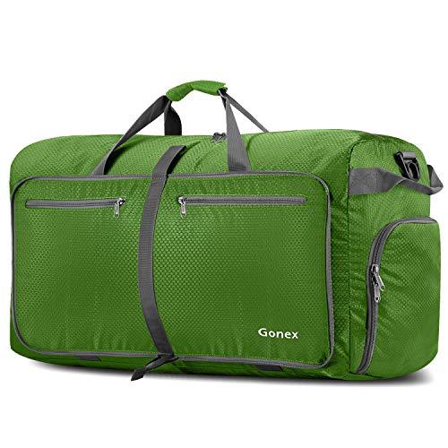 Gonex Leichter Faltbare Reise-Gepäck 100L, Farbe: Grün, Duffel Taschen Uebernachtung Taschen/Sporttasche für Reisen Sport Gym Urlaub -