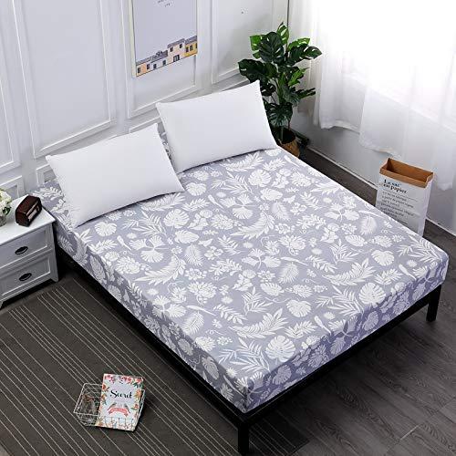 SUYUN Matratzenschoner 100% Baumwolle,Matratzenschutz in verschiedenen Größen,Polyester gedruckte graue Feder 150X200cmX25cm