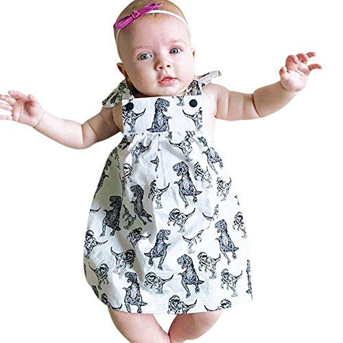 blancho squarex Baby Mädchen Infant Dinosaurier Schleife Cartoon ärmellose Kleidung Prinzessin Kleid, Kinder, weiß, 18-24 Monate  (Dinosaurier-kurz-schlafanzug)