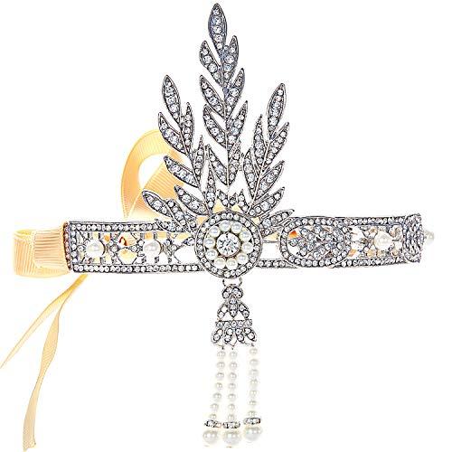 band Bling Silber Glanz Inspiriert von Great Gatsby Blatt Muster Perlen Stirnband Haar-Tiara Damen 1920 Accessoires ()