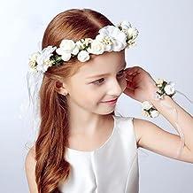Atrezzo Novia Comunion Damas de Honor madrinas de diadema corona de flores y pulsera con cierre cinta gasa diseños ideales novedad 2018 de OPEN BUY