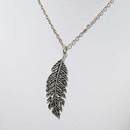 Federn Halskette, Sterling Silber Halskette–Hohe Detail Feder auf Sterling Silber Italien Seil Kette, beliebtesten Artikel für Feder Charm Geschenk - beliebtesten Artikel