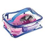 mDesign Reisetasche für Accessoires – Tasche für Strand, Pflegeprodukte oder Kosmetik – transparent / navyblau