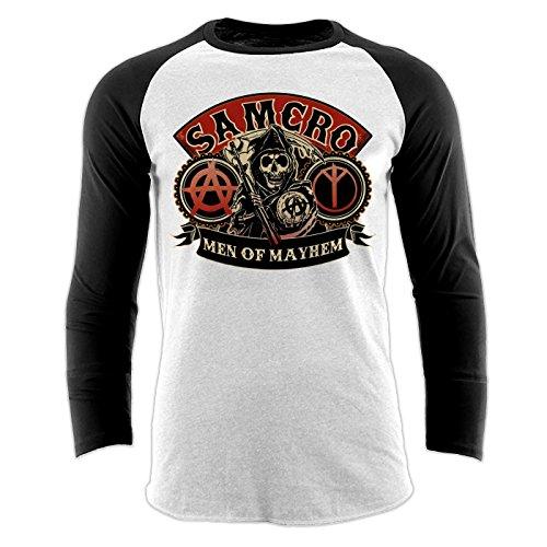 Weiß Of Sons Anarchy-shirt (SONS OF ANARCHY Samcro Baseball T-Shirt Offizielles Lizenzprodukt|weiss-XL)