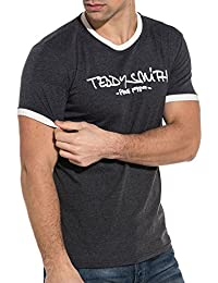 Teddy Smith Gray and White men39s Round Neck t-Shirt