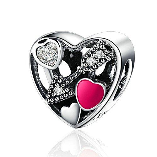 EMOSAN 2017 San Valentino Argento 925 Amore Struck Charm Gift Set Charms Bead Adatto braccialetti di DIY monili che fanno - Fascini Del Cuore Di Vetro