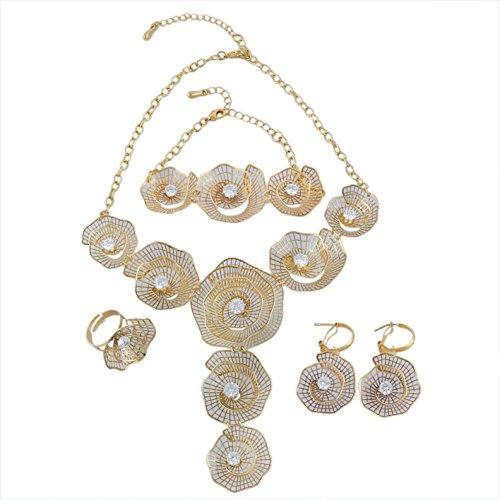 Yulaili Schmuck-Sets für Frauen Fashion Jewelry African Kostüm Halskette Fashion Charms Armband 24K Dubai ()