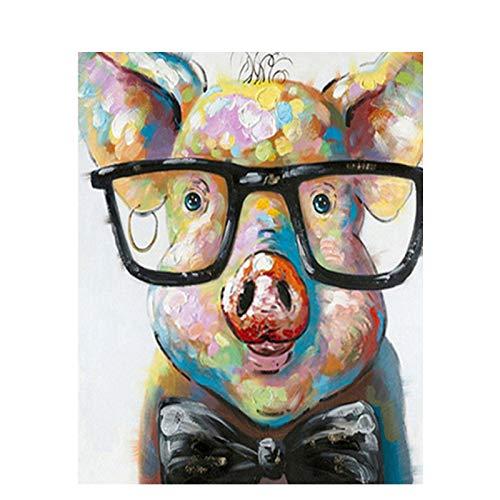 JUNSZYH Digitale Malerei,Schwein Tier Mit Brille,Ölfarbe Malen Nach Zahlen DIY Bild Zeichnung Färbung Auf Leinwand Malen Von Hand Wand Malen Nach Zahlen,16X20 Zoll Kein Rahmen