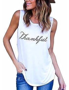 Belleshine Mujer T-shirts sin Mangas Thankful Camisetas Impresas de la Letra