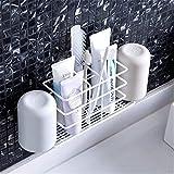 AMOJA Zahnbürstenhalter, Wandhalterung, Bad, Zahnpastahalter für Badwand, Badregal (Color : Weiß)