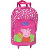 Peppa Pig Official Trolley Bag Girls Hot Pink Wheeled Travel Backpack