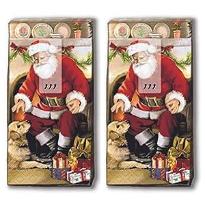 20 Taschentücher (2x 10) Taschentücher Weihnachtsmann daheim/Santa / Winter/Weihnachten
