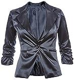 Eleganter Damenblazer Blazer Baumwolle Jäckchen Business Freizeit Party Jacke in 26 Farben 34 36 38 40 42, Farbe:Dunkelblau Metallic;Größe:M-38