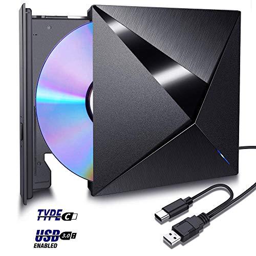 H&L Externes CD DVD Laufwerk Brenner USB 3.0 2.0 1.0 Type C mit Hilfs Stromanschluss, Tragbar CD DVD VCD Leser Player Drive für Laptop Desktop PC Mac OS, MacBook Air Pro, Windows 98/7/8/10/XP/VISTA
