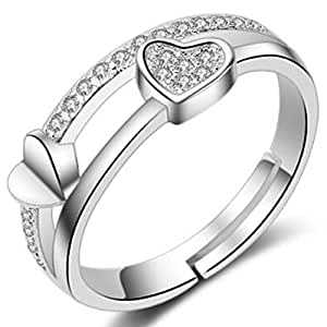 Peora Rhodium Plated Silver Cubic Zirconia Lovely Shining Heart Adjustable Finger Ring for Women
