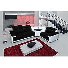 JUSThome Pariss Sofá esquinero chaise longue con sistema audio de piel auténtica Blanco Nergo Brazo derecho