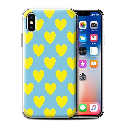 Stuff4 Gel TPU Hülle / Case für Apple iPhone X/10 / Heiß Strand Streifen Muster / Gelbe Mode Kollektion Sommerherzen/Liebe