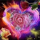 5d Diamant Broderie, Xshuai® 5d Diamant Peinture Kits de Full Cœur Fleurs DIY fait à la main strass Broderie Cross-stitching Lot ou pièces Salon Chambre à coucher Étude Décoration de la Maison, Heart Flowers, Canvas Size:30x30cm
