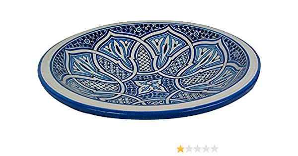Di 40 H 10 Platter from Fez Large Azrou Hand painted Moroccan Ceramic Plate