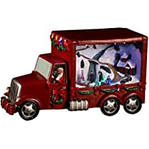 Home Village 5MAI418RO Camion du Père Noël Lumineux Musical Rouge