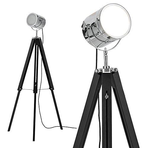 Preisvergleich Produktbild [lux.pro] Stehleuchte Tripod (1 x E27 Sockel)(64cm - 140cm) Industrial Design Dreifuss Dreibein Tripod Teleskop Chrom Stehlampe Leuchte