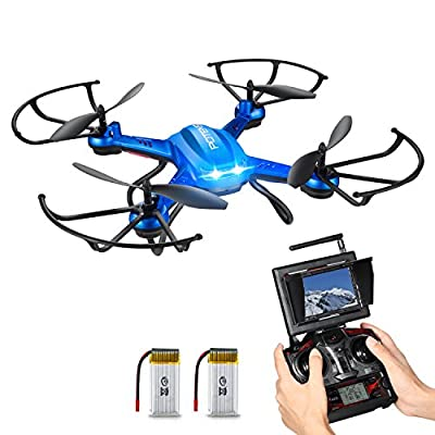 Drone with HD Camera, Potensic® F181DH RC Quadcopter Drone RTF Altitude Hold UFO with Newest Hover and 3D Flips Function, 2MP HD Camera & 5.8Ghz FPV LCD Screen Monitor - Blue
