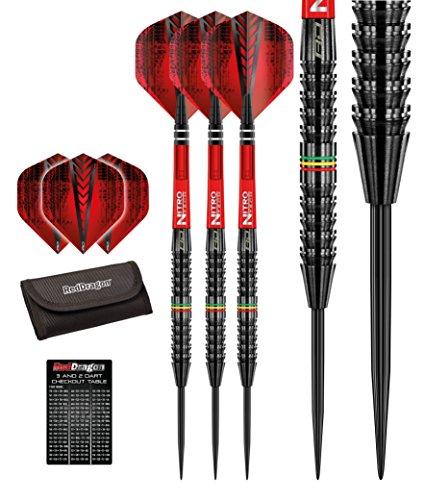 *Red Dragon Jamie Lewis 23g – 90% Tungsten Steel Darts (Steel Dartpfeile) mit Flights, Schäfte, Brieftasche & Red Dragon Checkout Card*