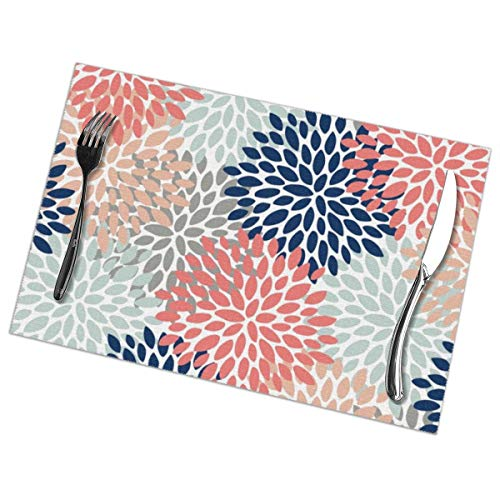 Myhou Platzsets, Dining Table Placemats Sets of 6 Heat Resistant Washable Table Mats Floral Bloom Print Coral Pink Pale Aqua Blue Gray Navy Bloom Round Platter