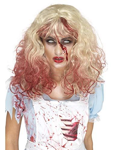 Halloweenia - Damen Blonde Zombie Bloody Alice Perücke mit Blutsträhnen, Kostüm Accessoires Zubehör, perfekt für Halloween Karneval und Fasching, Natur