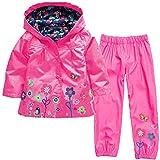 luoluoluo Bambina Abbigliamento,Completini Bimba,Bambina Impermeabile Ragazza Pioggia Giacca Stampare Cappotto con Cappuccio +Pantaloni per Bambina (E, 18 Mesi)