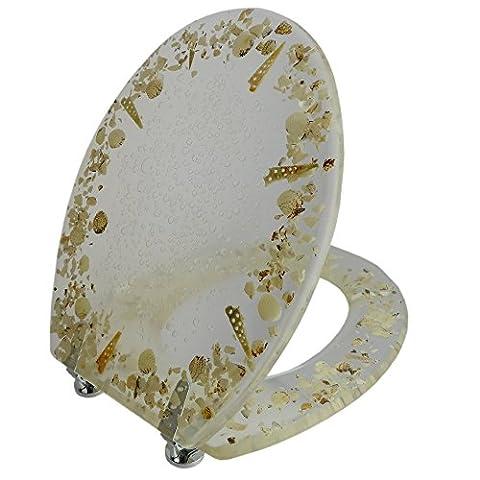 Toilettensitz / Wc Deckel / Toilettendeckel / Klobrille Top Qualität mit echten Muscheln