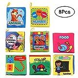 YeahiBaby Stoffbuch Baby Weiches Bilderbuch Pädagogische Spielbuch Stoffspielzeug Tier Person Verkehrsmittel Gemüse 8 Stücke