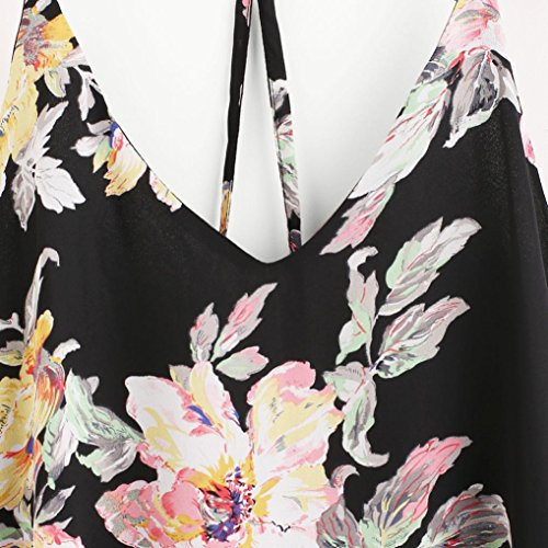 OverDose Trägershirts Flower Bestickte Strappy Cami Top Bluse tops Vest Weste Pulli B-Schwarz