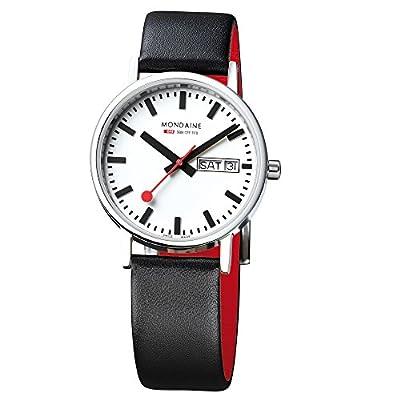 Mondaine SBB Classic Day Date 36mm A667.30314.11SBB Reloj de pulsera Cuarzo Hombre correa de Cuero Negro