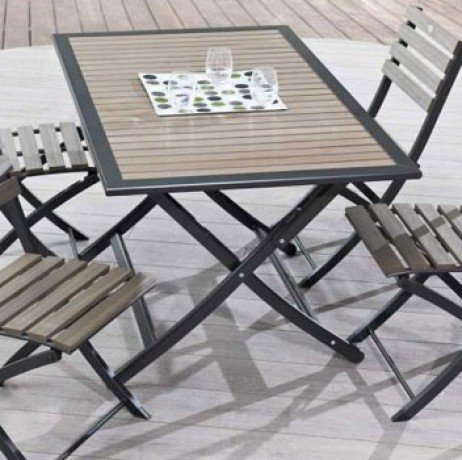 Table pliante 140x80 cm structure aluminium plateau bois composite + 4 Chaises pliantes - MARRON CLAIR