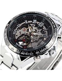 Reloj de acero - WINNER Hombre Esfera esqueleto negro Reloj de acero inoxidable de plata mecanico