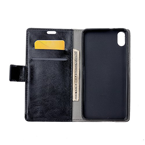 CaseforYou Hülle iphone X Schutz Gehäuse Hülse Crazy Horse Pattern PU Leather Wallet Case with Flip Stand Function and Card Slots Magnetic Closure Cover Schutzhülle für iphone X Handy (Blue) Black