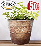 Plant Pots Metal Flower Pot Large Outdoor 33 cm Garden Decor, Set 2 Clearance Sale