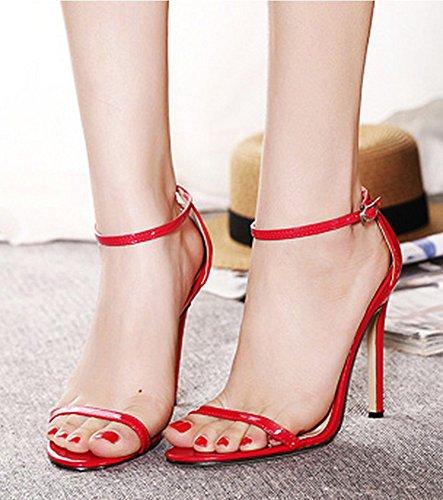 Aisun Damen Klassisch Knöchelriemchen Offene Damenschuhe Sandalen Rot