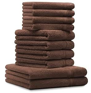 10 tlg. Luxus Handtuch Set GOLD Farbe: Nuss Braun, Qualität 600 g/m², 100% Baumwolle, 2 Duschtücher 70 x 140 cm, 4 Handtücher 50 x 100 cm, 4 Seiftücher 30 x 30 cm