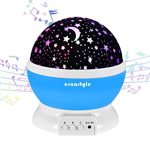 adbare 360 Grad Drehende Nachtlicht Projektor Baby Musical Mond und Himmel Licht mit 12Licht Musik für Baby Zimmer, Schlafzimmer, Kinderzimmer, Halloween, Weihnachten(Blau) (Halloween Ist Vorbei)