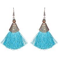Chytaii Pendientes Mujer Pendientes Largos con Flecos Viento Nacional Pendientes de Forma Geométrica Accesorios Damas Pendientes Coloridos (Azul)