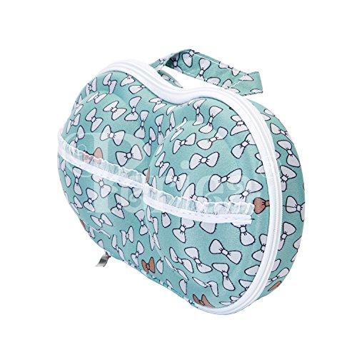 Periea Reggiseno Astuccio Viaggio Organizzatore - Belle - 10 colori disponibili Verde con fiocchi bianchi