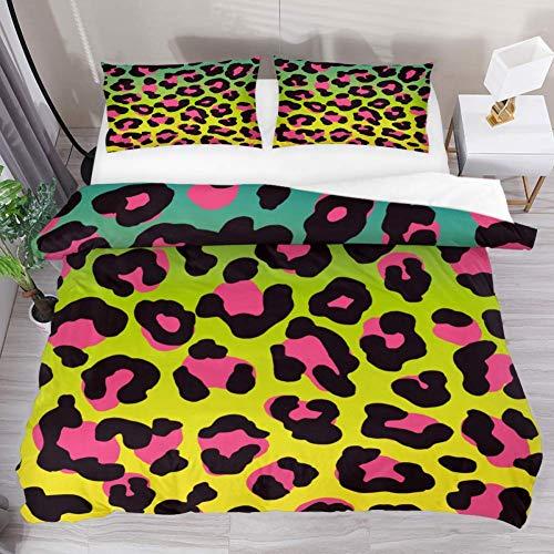 Soefipok Bettwäsche Bettbezug Set Pink Camo Leopard Kunstdruck gedruckt Tröster Set mit 2 Kissenbezügen 3 Stück weich, 1 Bettbezug mit 2 Kissenbezügen -