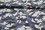 Pinidi Stoff/Meterware ab 25cm /Ökotex 100 / Jeans Camouflage blau schwarz