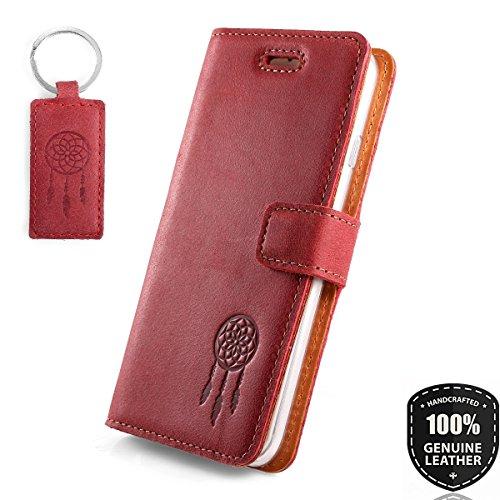 SURAZO Traumfänger - Premium Vintage Ledertasche Schutzhülle Wallet Case aus Echtesleder Nubukleder Farbe Rot für Huawei P9 Lite Mini/Y6 Pro 2017