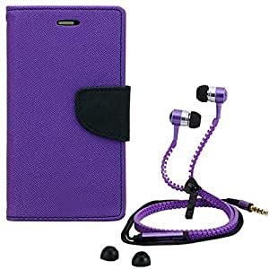 Aart Fancy Diary Card Wallet Flip Case Back Cover For HTC 816-(Purple) + Zipper earphones/Hands free With Mic *Stylish Design* for all Mobiles By Aart store